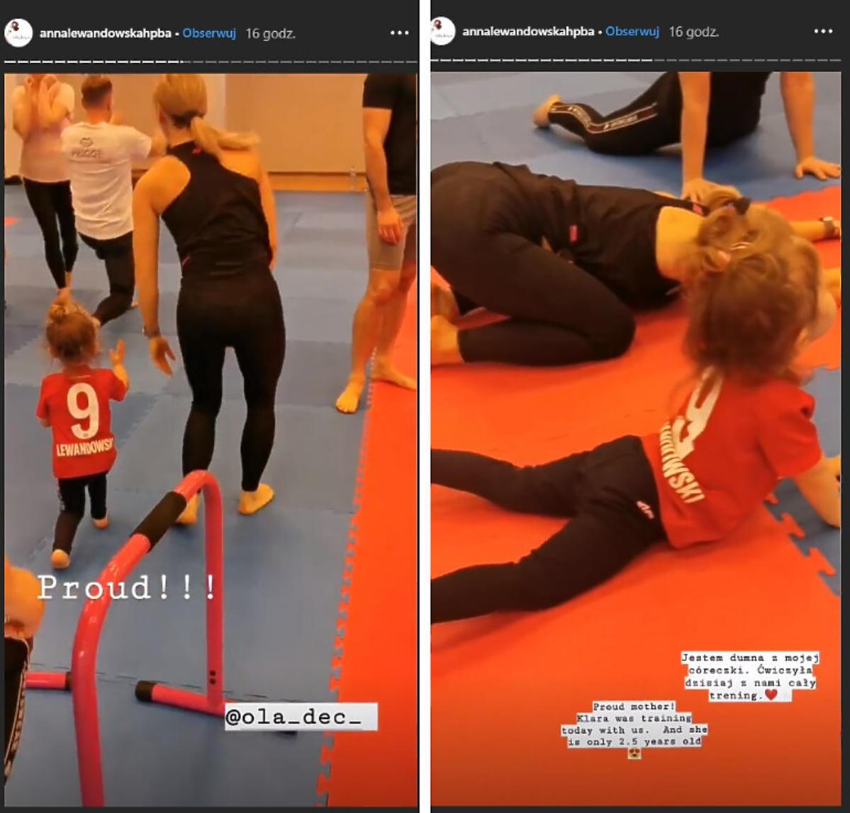 Klara Lewandowska ćwiczy na obozie mamy