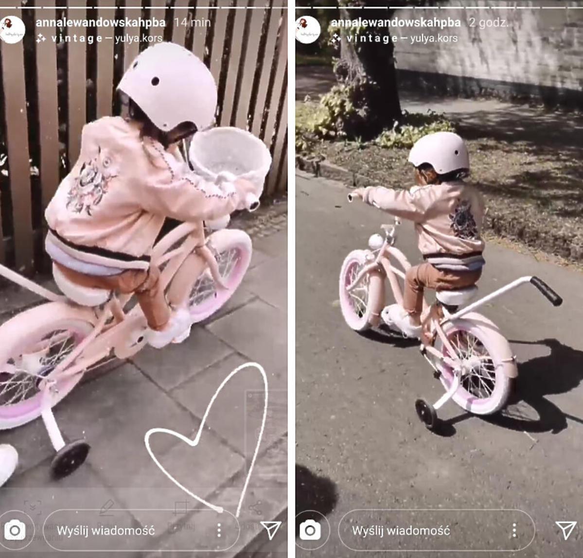 Klara Lewandowska jeździ na różowym rowerze