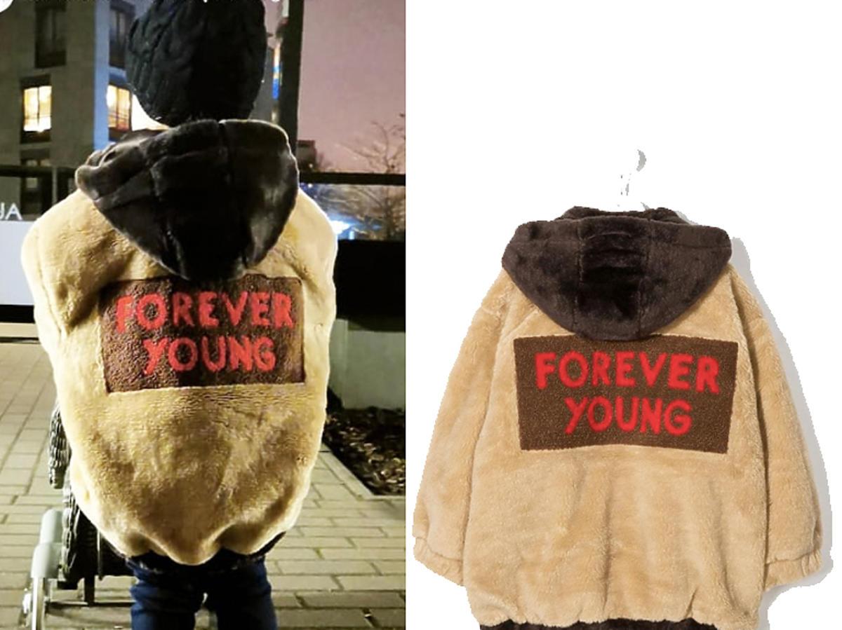 Klara Lewandowska w kurtce Mini Rodini z napisem Forever Young