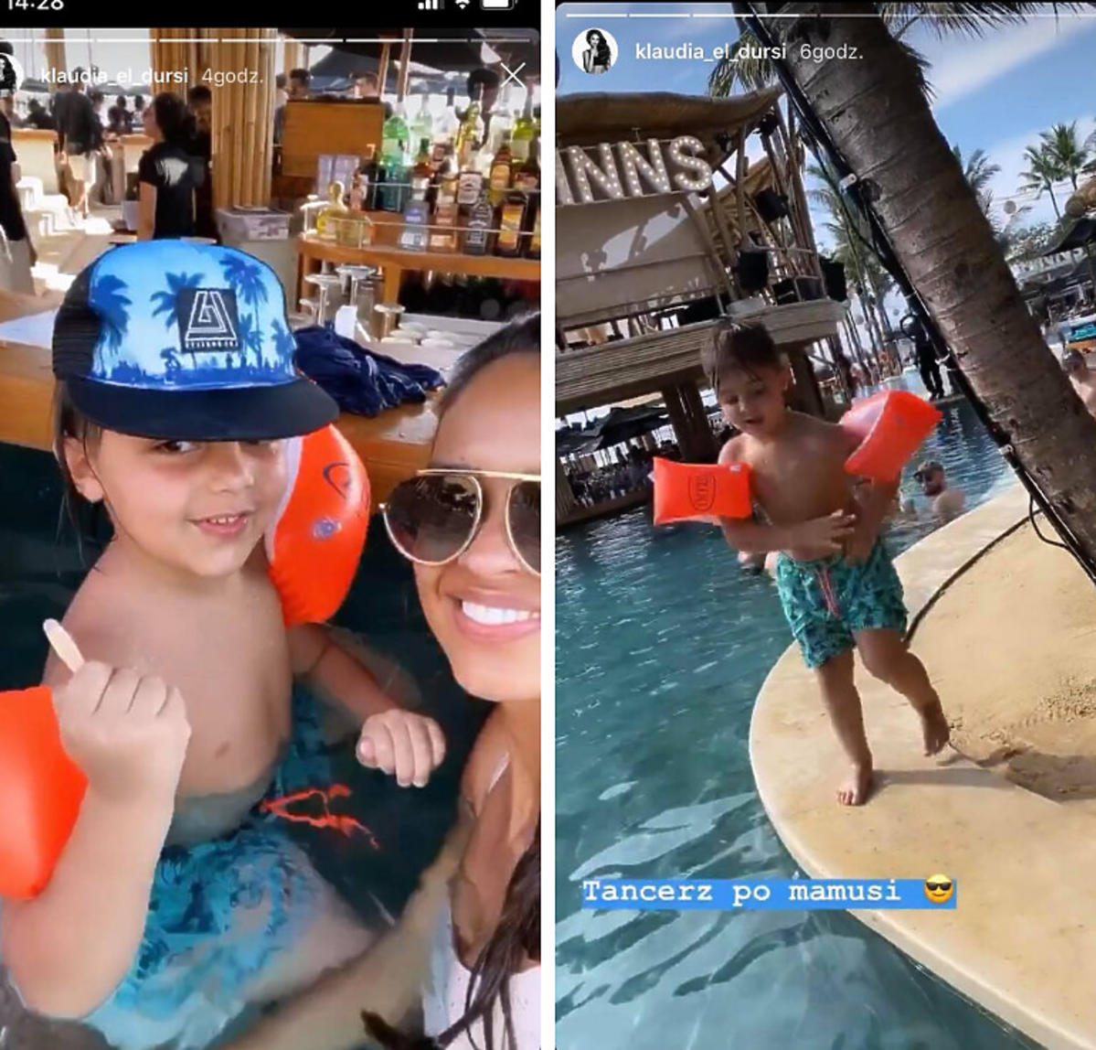 Klaudia El Dursi z synem na Bali
