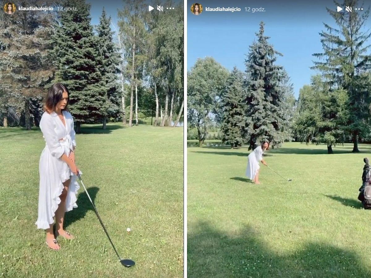 Klaudia Halejcio gra w golfa w swojej posiadłości