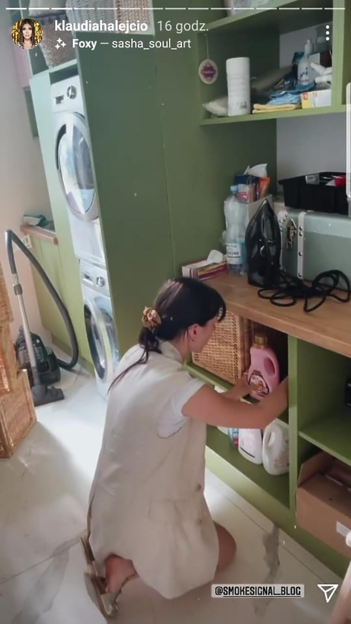 Klaudia Halejcio pokazała pralnię w nowym domu