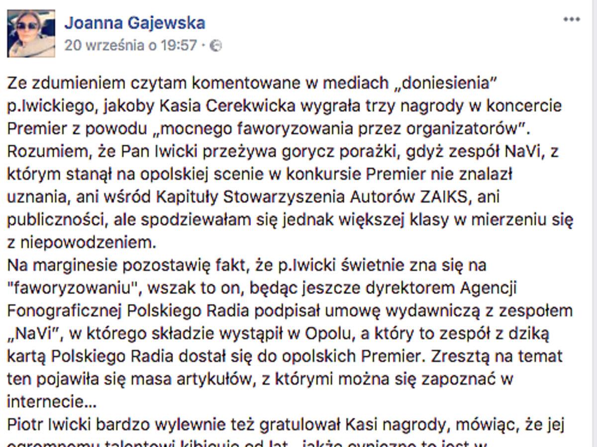 Komentarz menadżerki Cerekwickiej