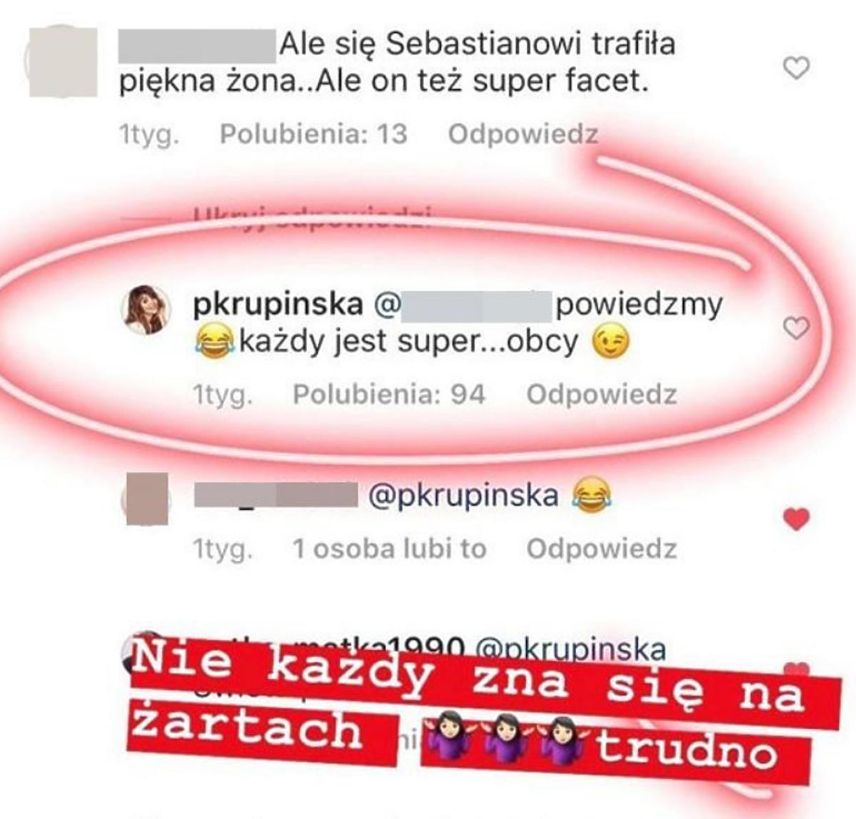 Komentarz Pauliny Krupińskiej na Instagramie