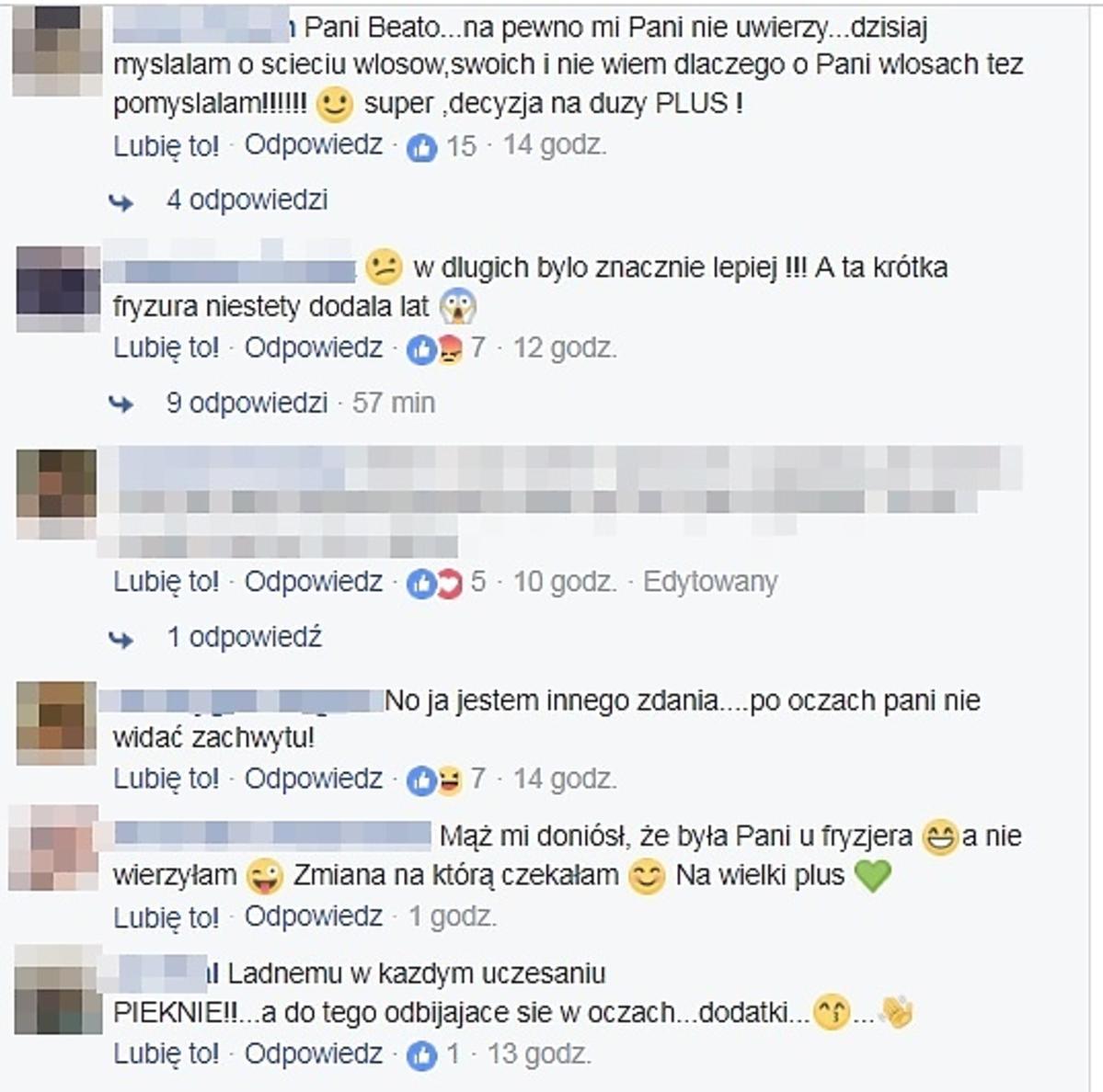 Komentarze fanów po zmianie fryzury przez Beatę Pawlikowską