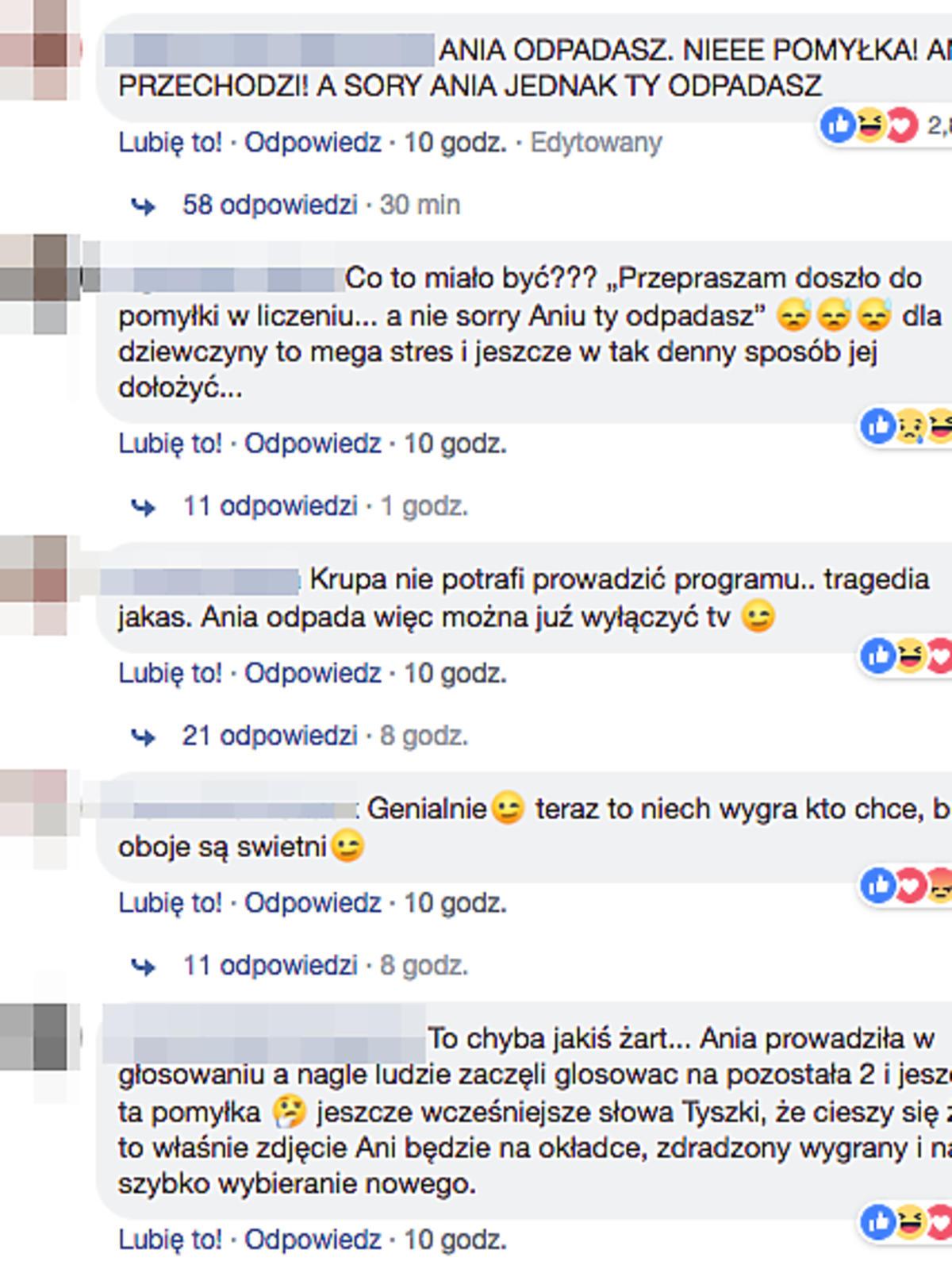 Komentarze Top Model Facebook
