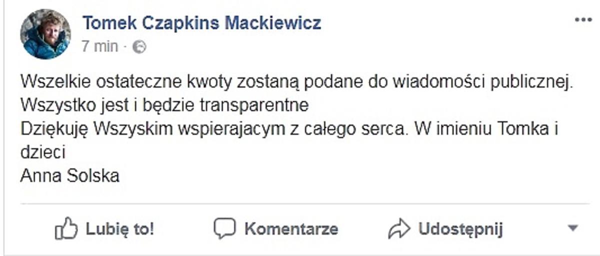 Komunikat o zbiórce na rzecz Tomasza Mackiewicza