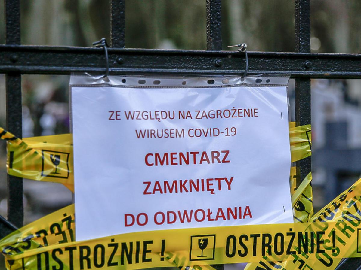 Koronawirus, zamknięty cmentarz