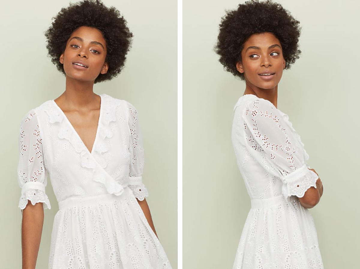 koronkowa biała sukienka z H&M