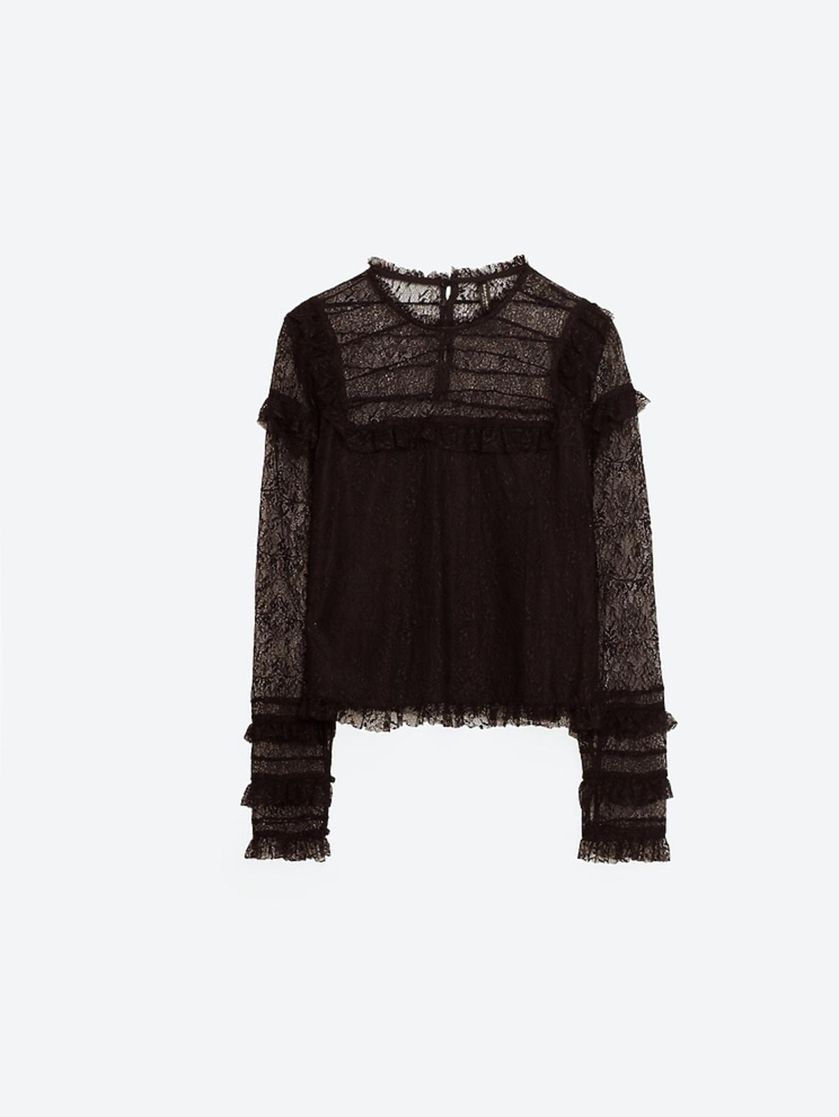 Koronkowa bluzka ze stójką Zara
