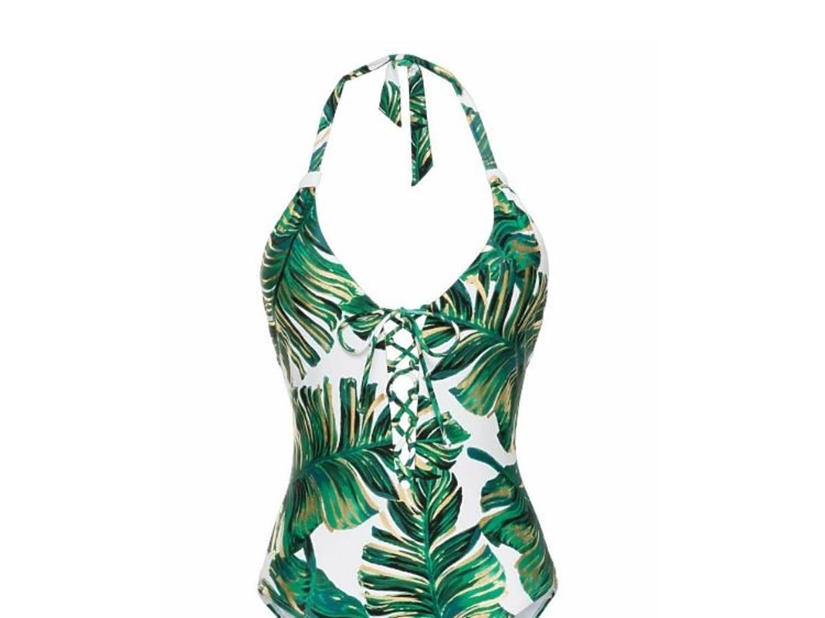 kostium w tropikalne liście z Bonprix.pl