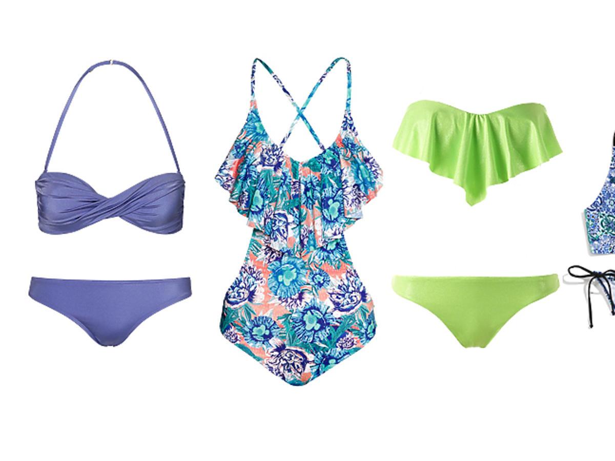 kostiumy kąpielowe fioletowe, wzorzyste, zielone