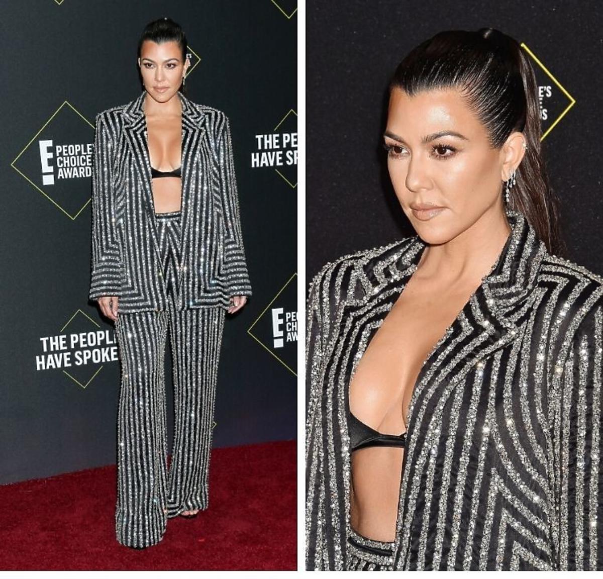 Kourtney Kardashian w meatlicznym garniturze i staniku