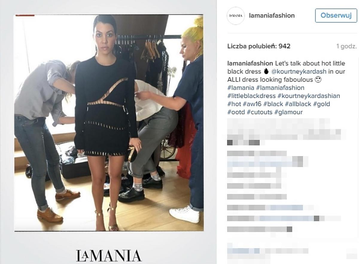 Kourtney Kardashian w sukience marki La Mania