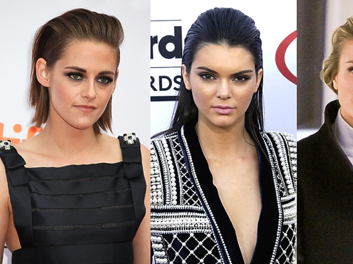 Kristen Stewart, Kendall Jenner, Joanna Krupa we włosach odgarniętych do tyłu