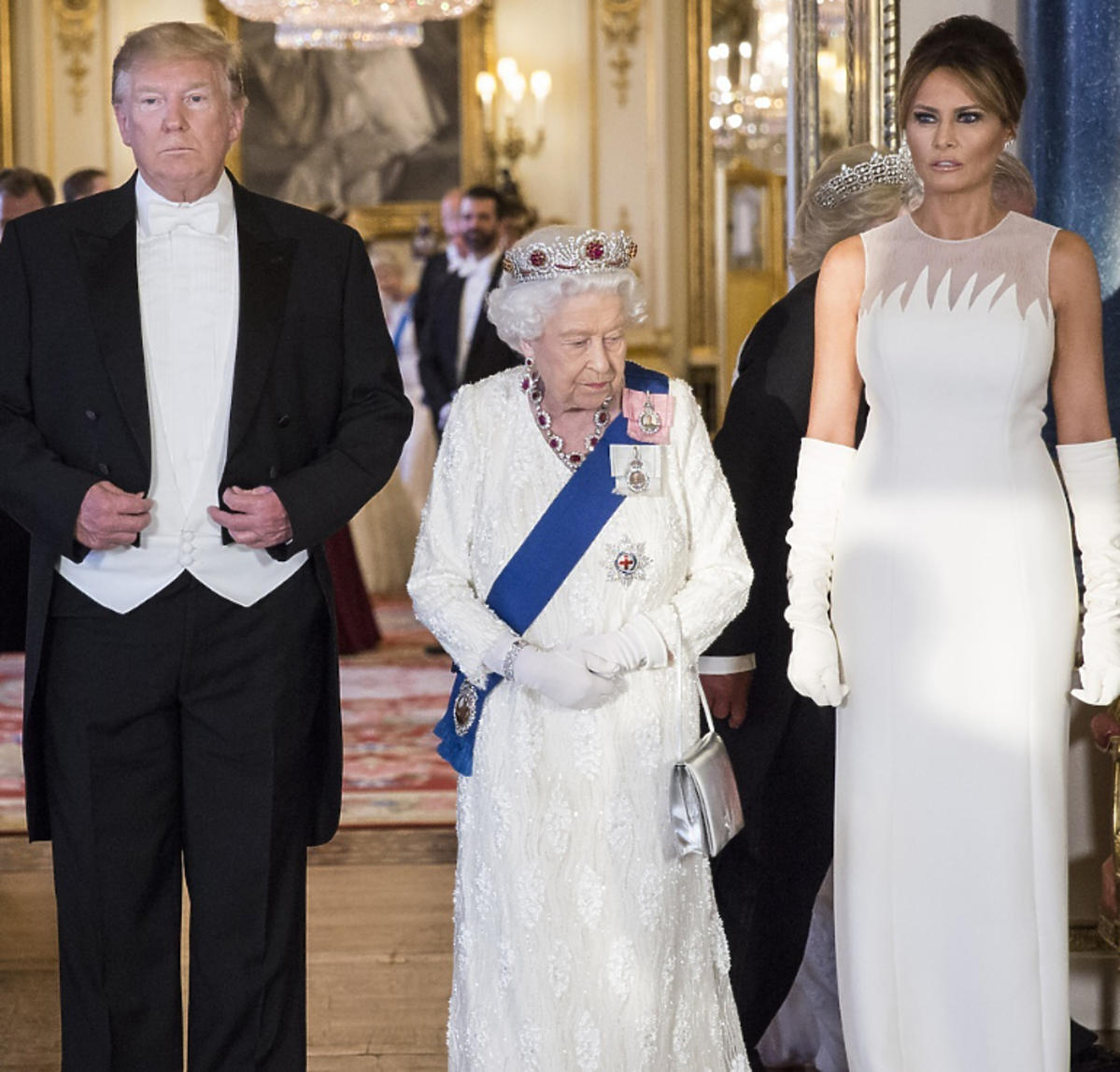 Królowa Elżbieta II na bankiecie z Donaldem Trumpem i jego żoną