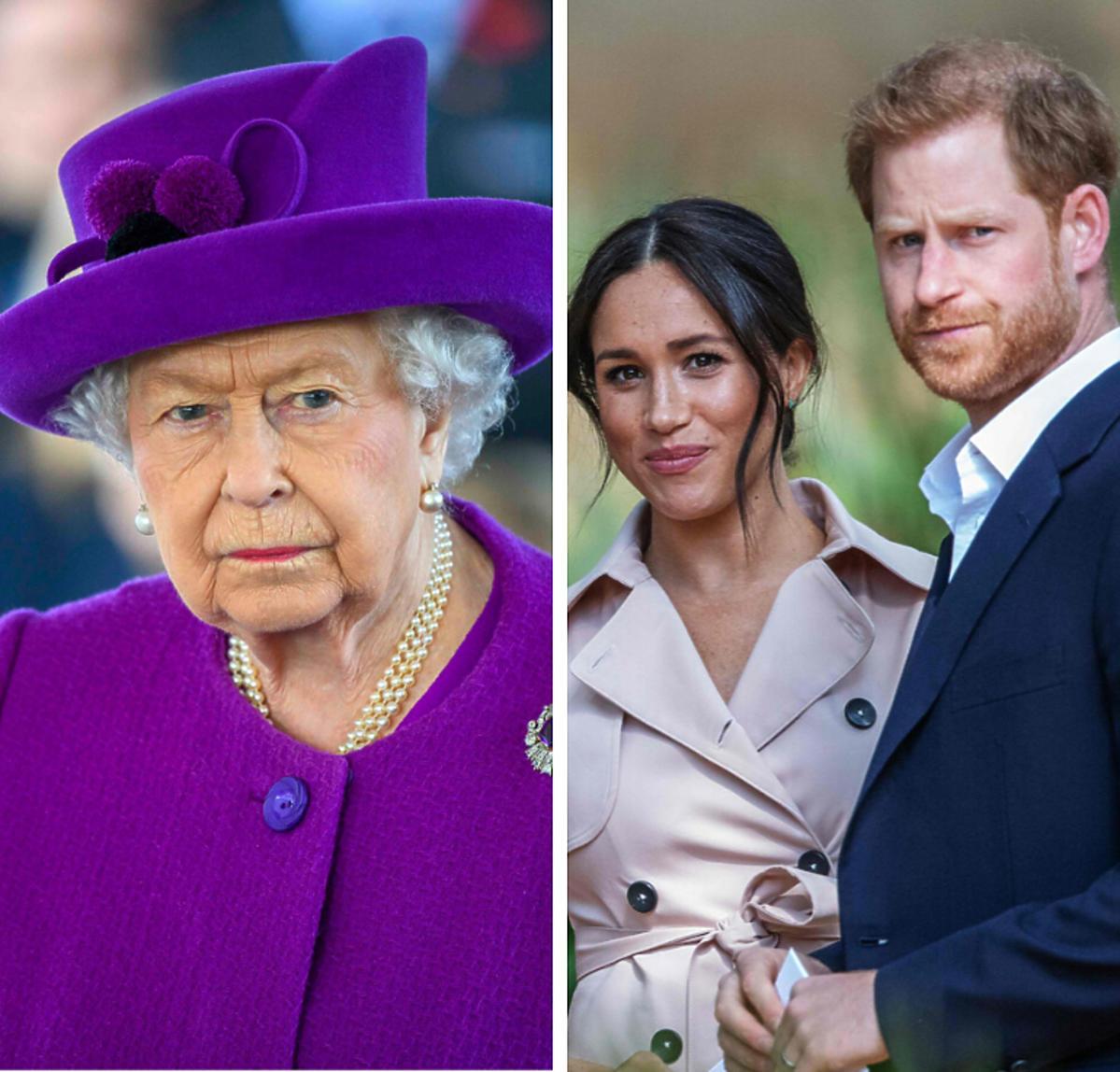 Królowa w fioletowej stylizacji, Meghan i Harry