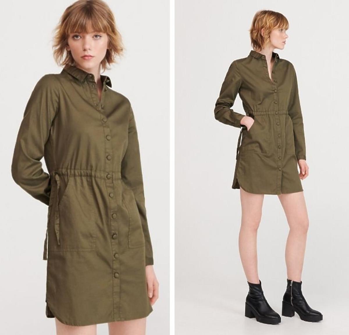 Krótka sukienka khaki w stylu safari Reserved