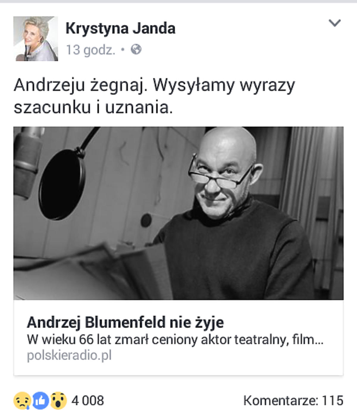 Krystyna Janda żegna Andrzeja Blumenfelda