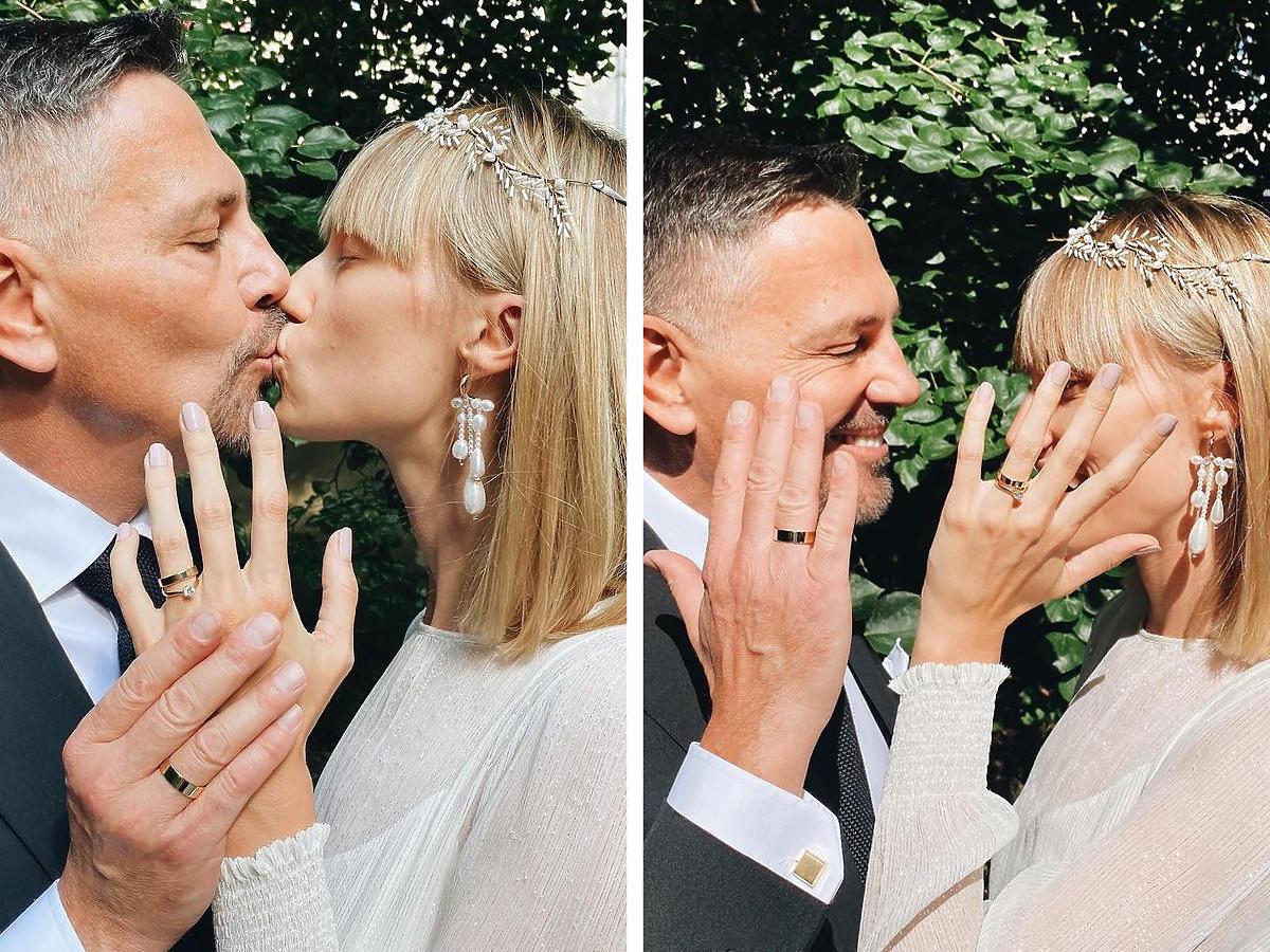 Krzysztof Ibisz z żoną na ślubnych zdjęciach