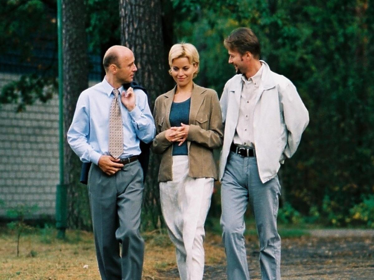 Krzysztof Pieczyński, Małgorzata Foremniak i Artur Żmijewski na planie Na dobre i na złe