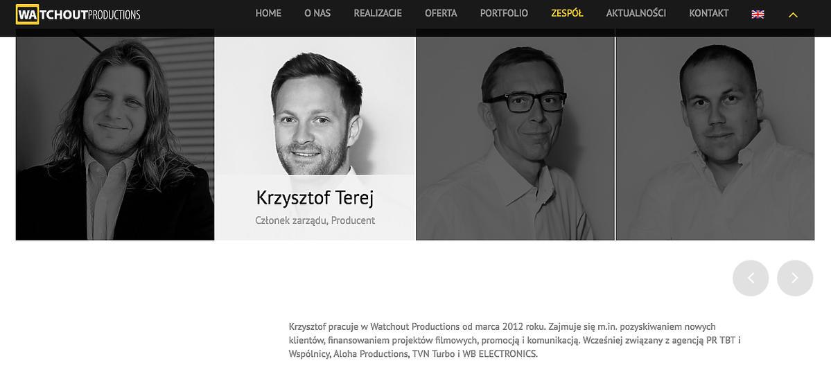 Krzysztof Terej na stronie watchoutproductions