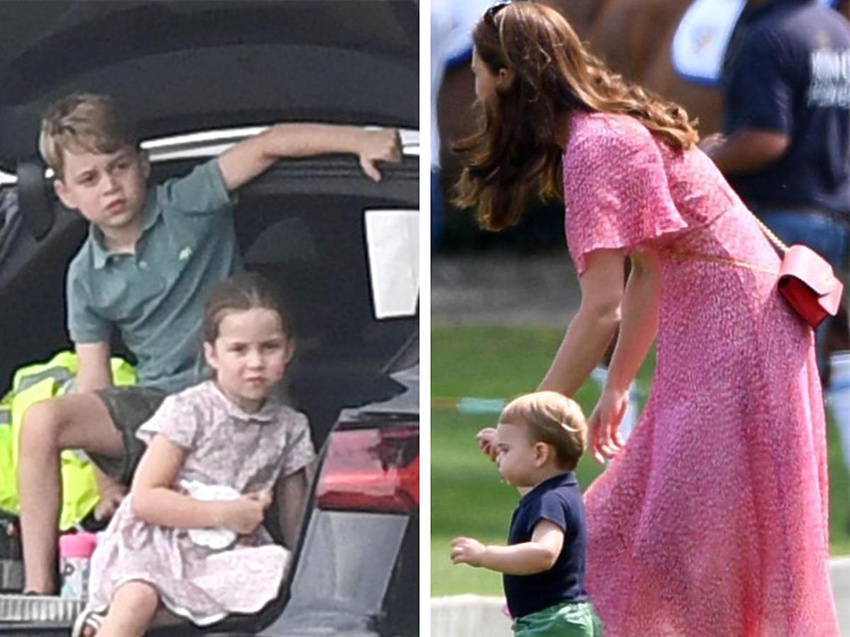 Książę George i księżniczka Charlotte, księżna Kate z Louisem kibicują Williamowi na meczu polo
