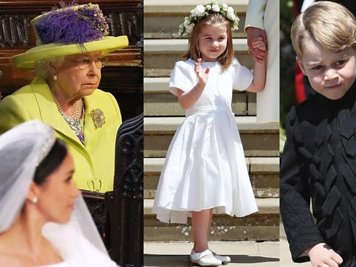 Książę George, księżniczka Charlotte i królowa Elżbieta na ślubie Meghan i księcia Harry'ego