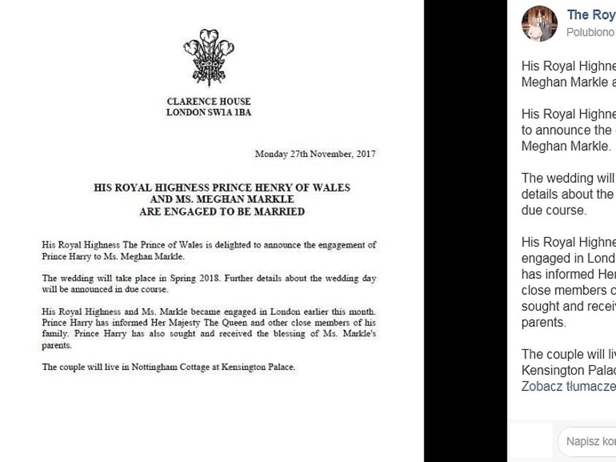 Książę Harry i Meghan Markle zaręczyli się