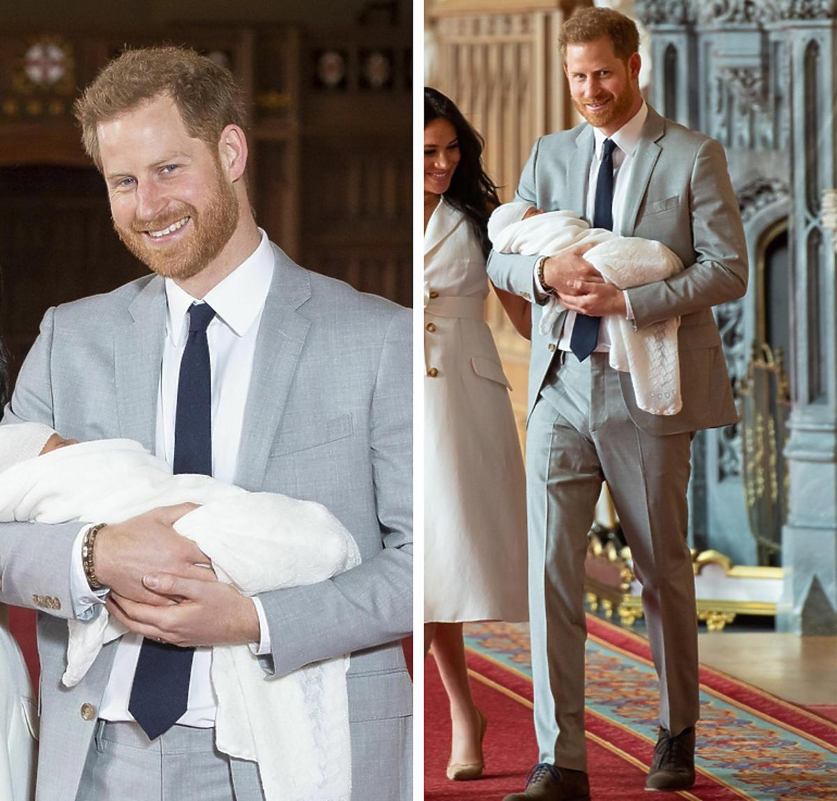 Książę Harry z synem na rękach