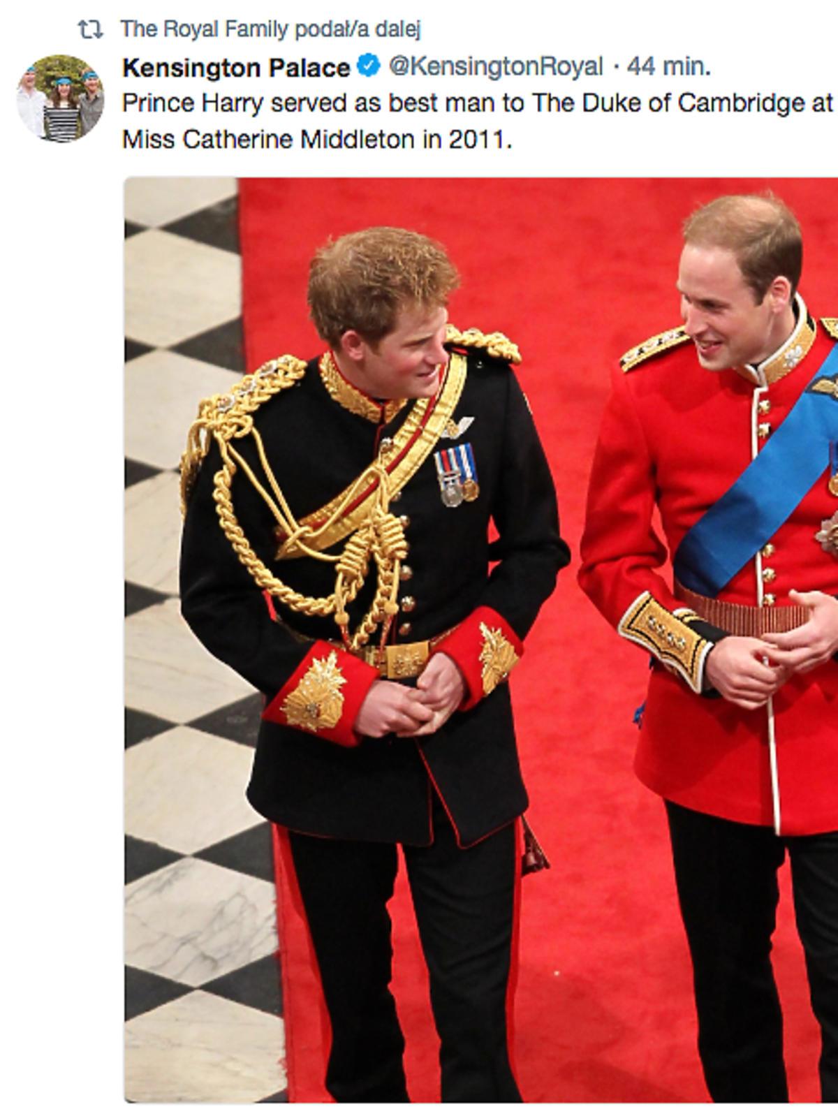 Książę William będzie świadkiem na ślubie księcia Harry'ego