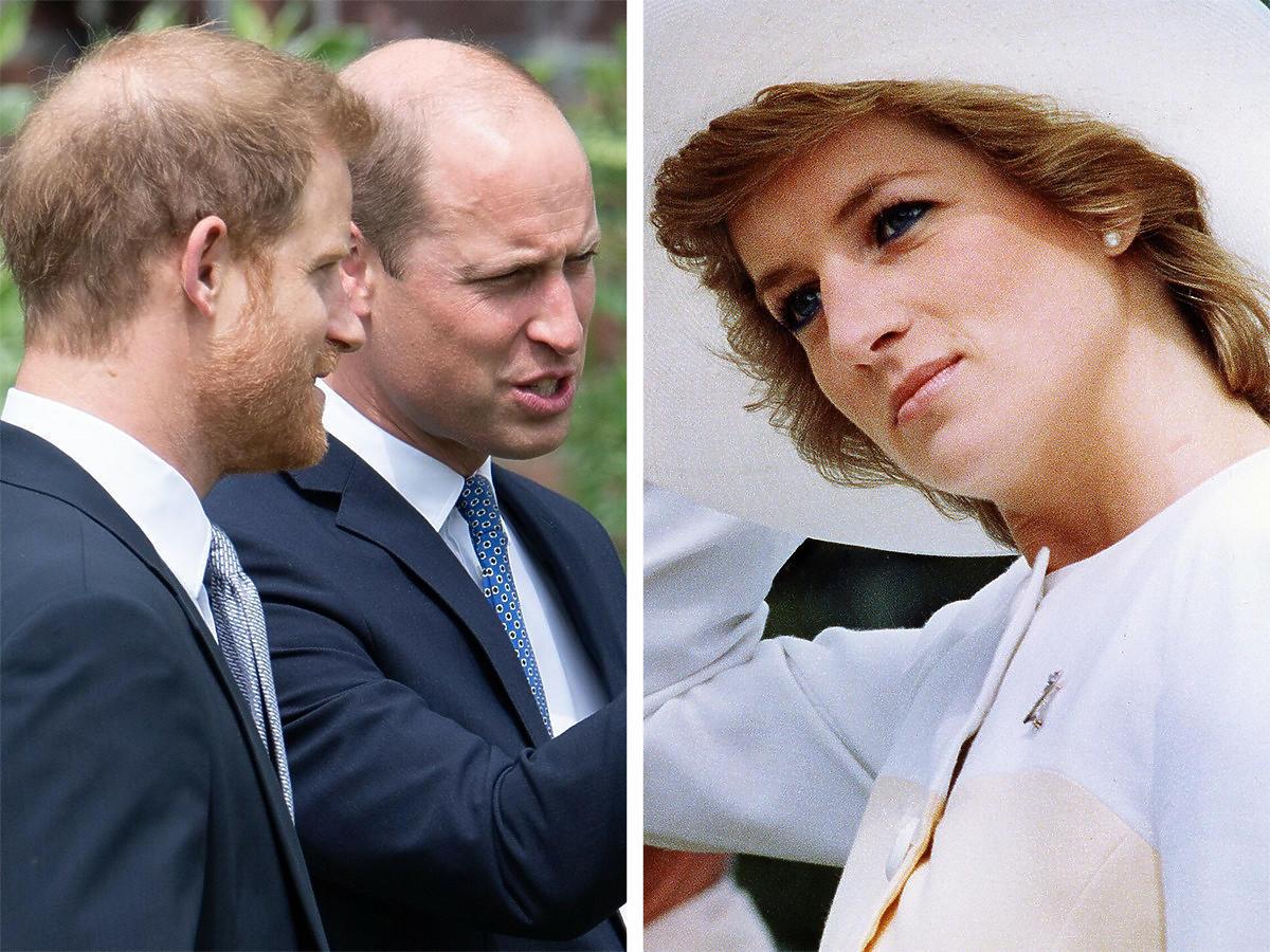 Książę William i książę Harry na odsłonięciu pomnika księżnej Diany