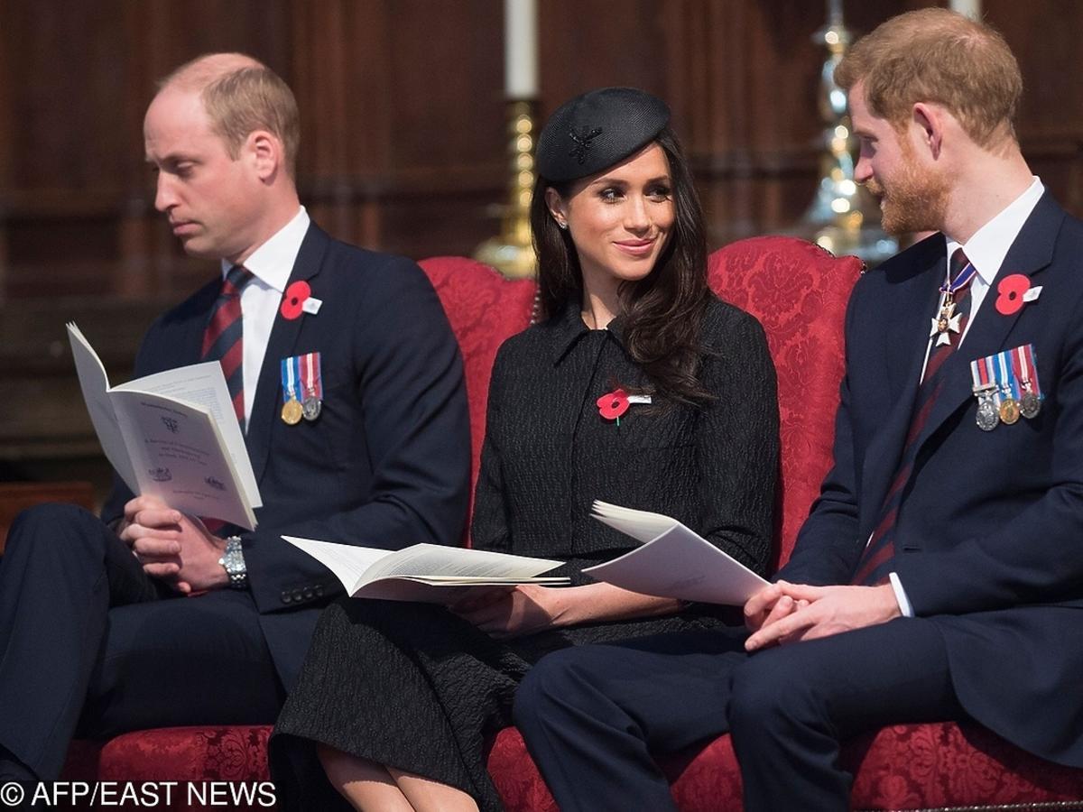 Książę William, książę Harry i Meghan Markle w Londynie