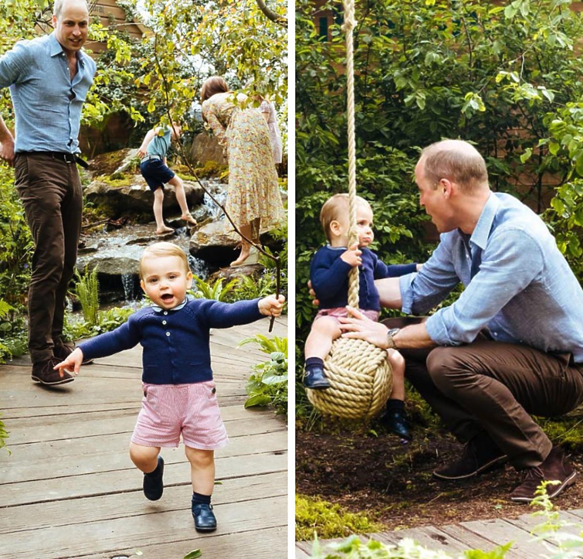 Książę William książę Louis w ogrodzie