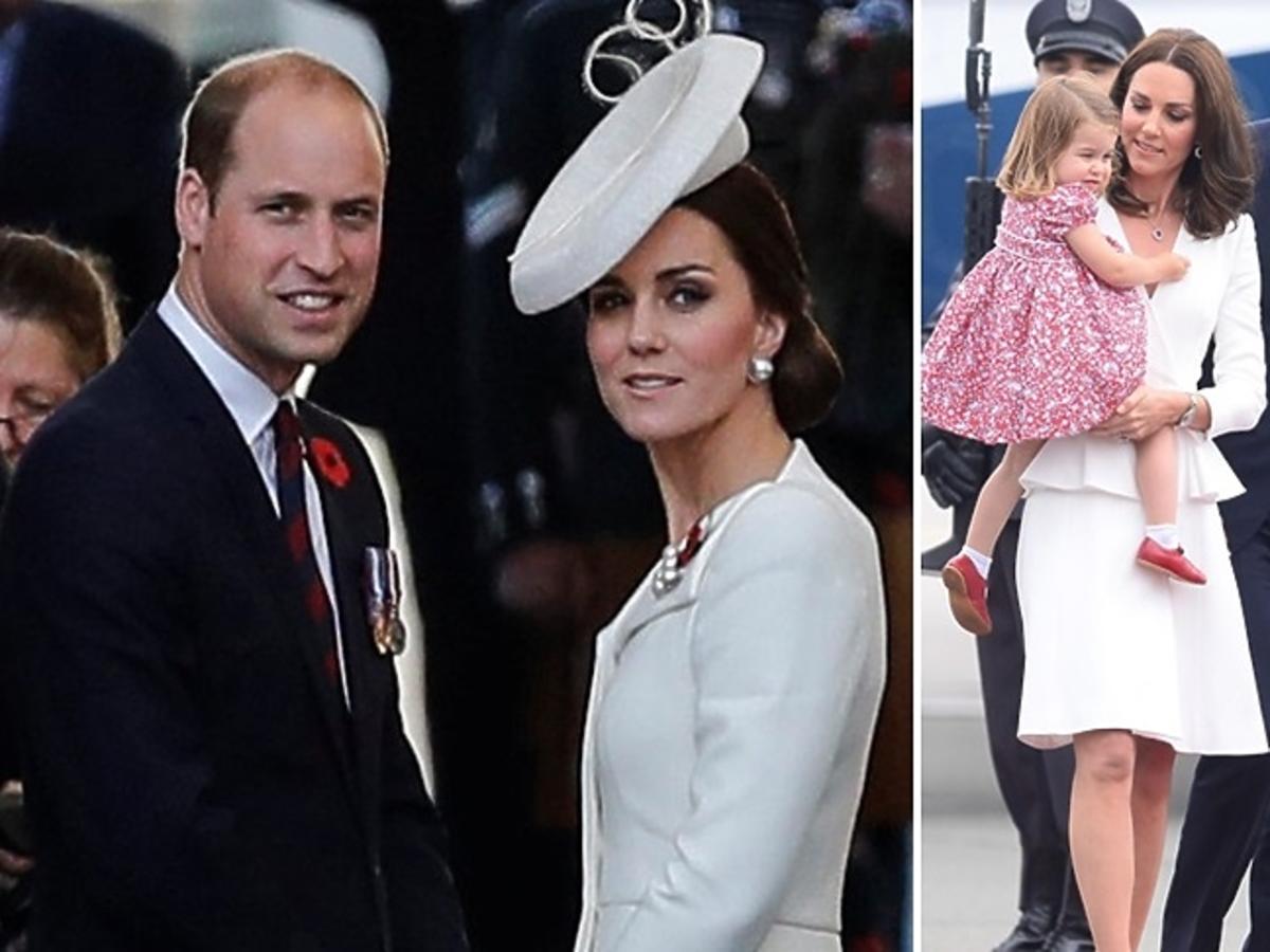 książę William, księżna Kate, księżniczka Charlotte, książę George
