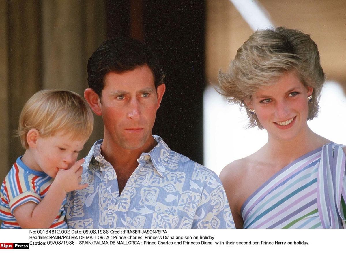 Księżna Diana, książę Karol z synem Harrym