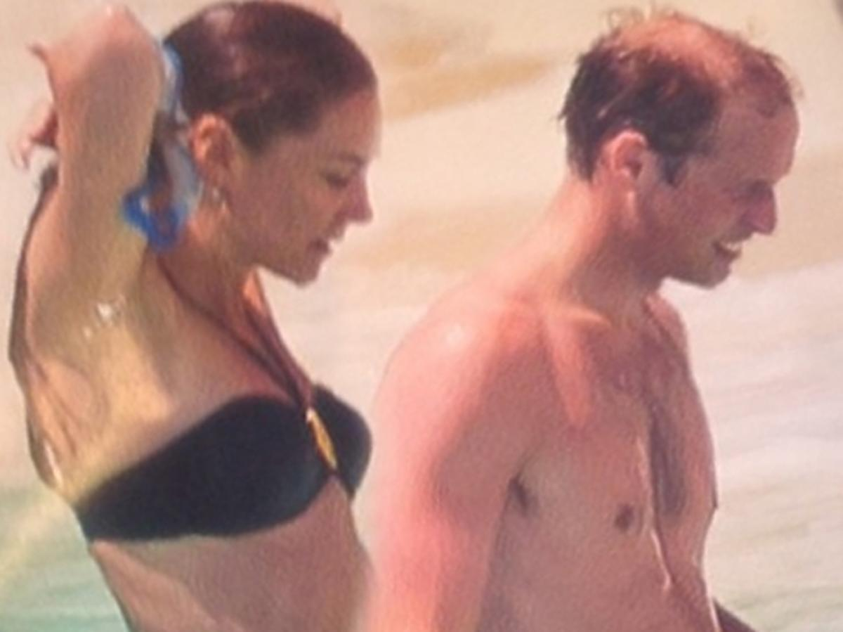 Księżna Kate i książę William nago na plaży