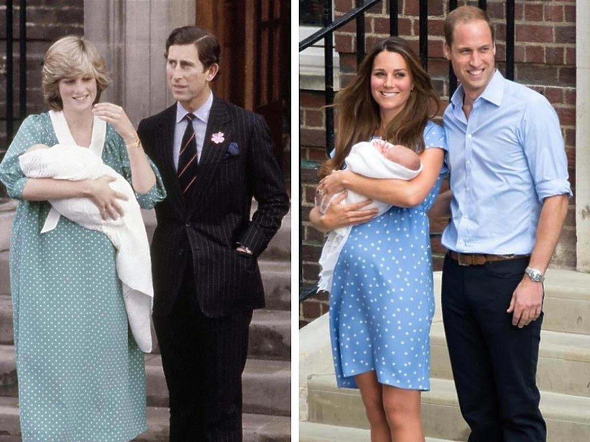 Księżna Kate i księżna Diana po narodzinach dzieci