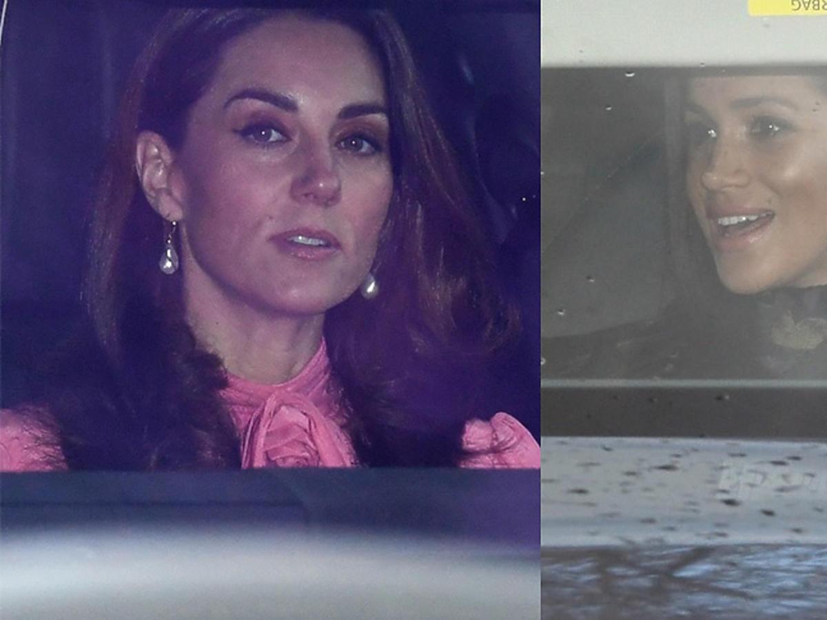 Księżna Kate i Meghan Markle w drodze na świąteczne spotkanie z królową Elżbietą II