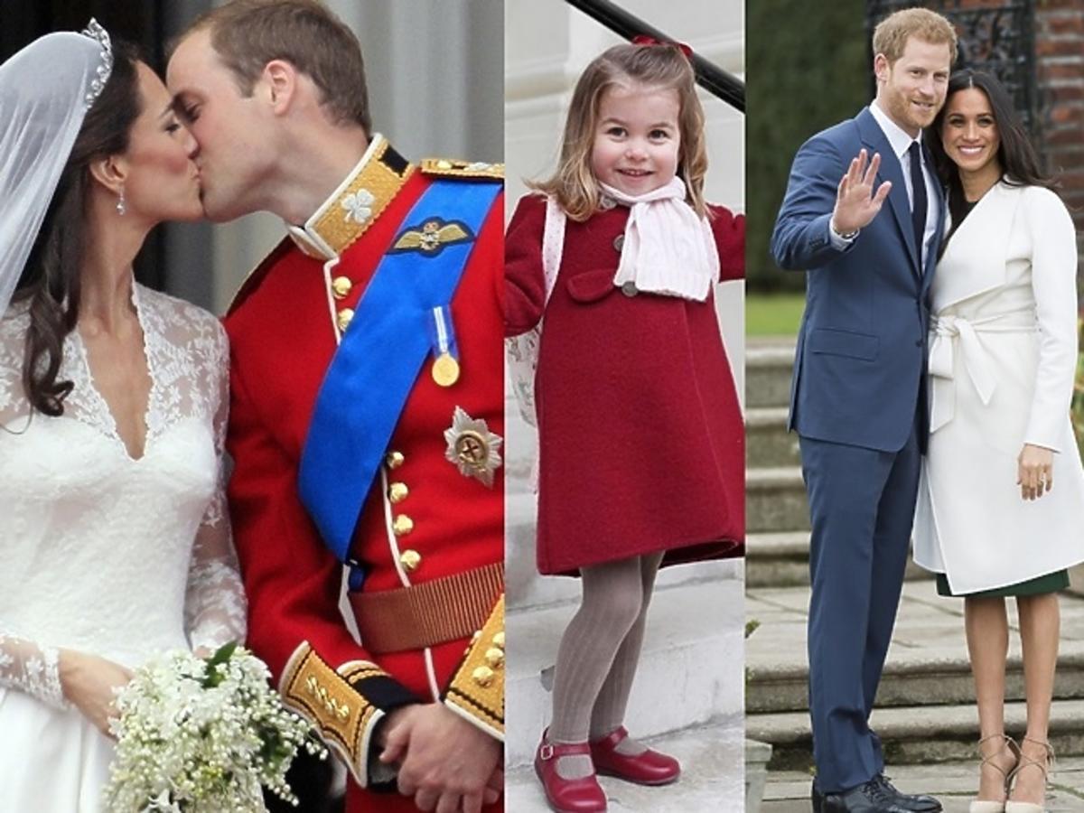 księżna Kate, książę William, księżniczka Charlotte, książę Harry, Meghan Markle, książę George