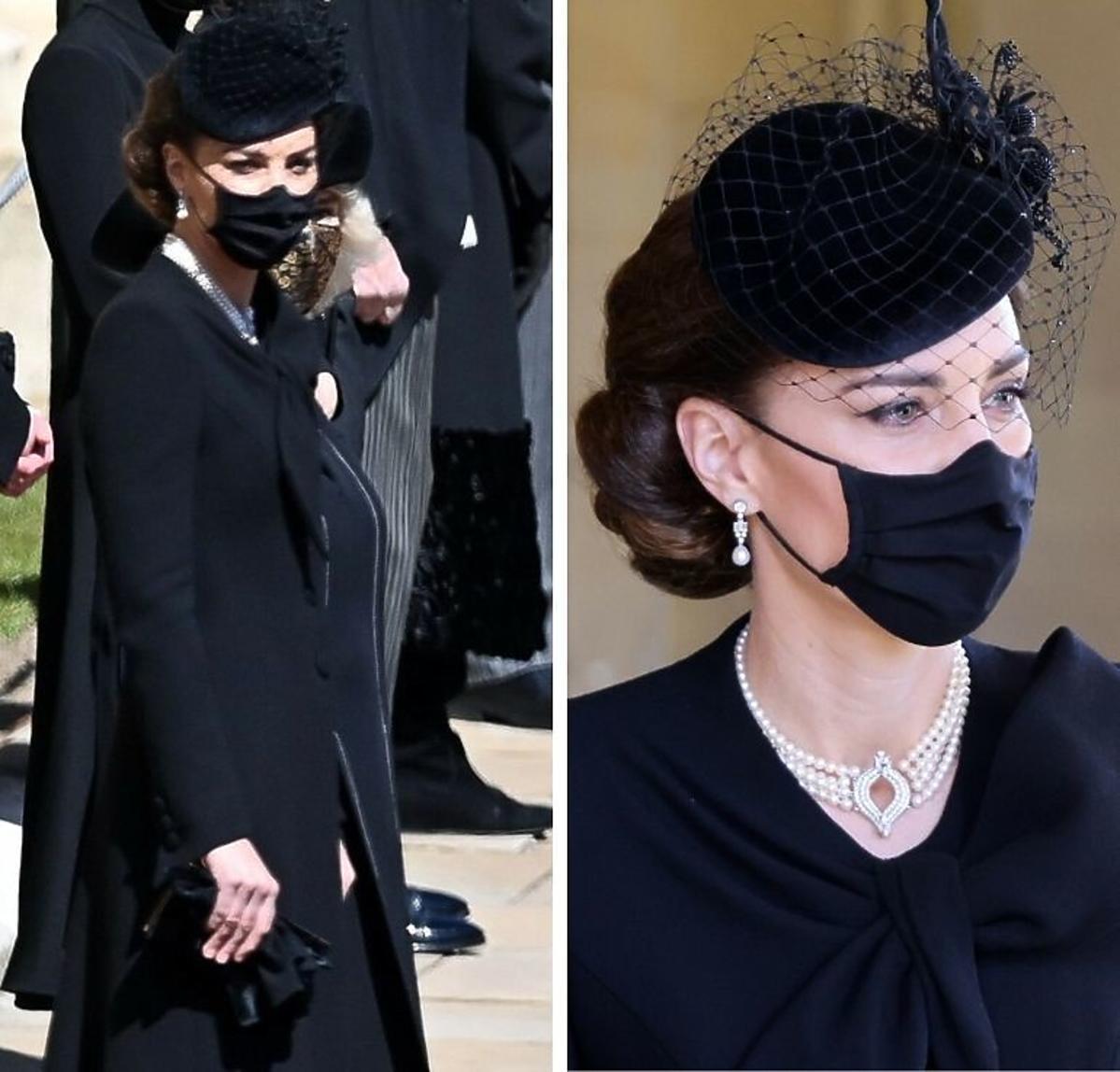 Księżna Kate na pogrzebie księcia Filipa z perłami po Dianie