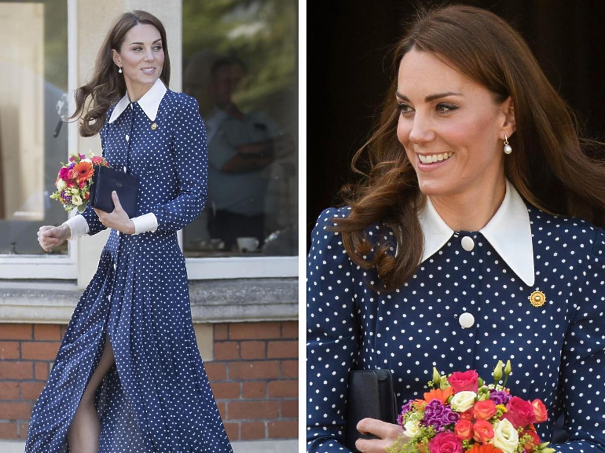 księżna Kate postawiła na maksi sukienkę w grochy
