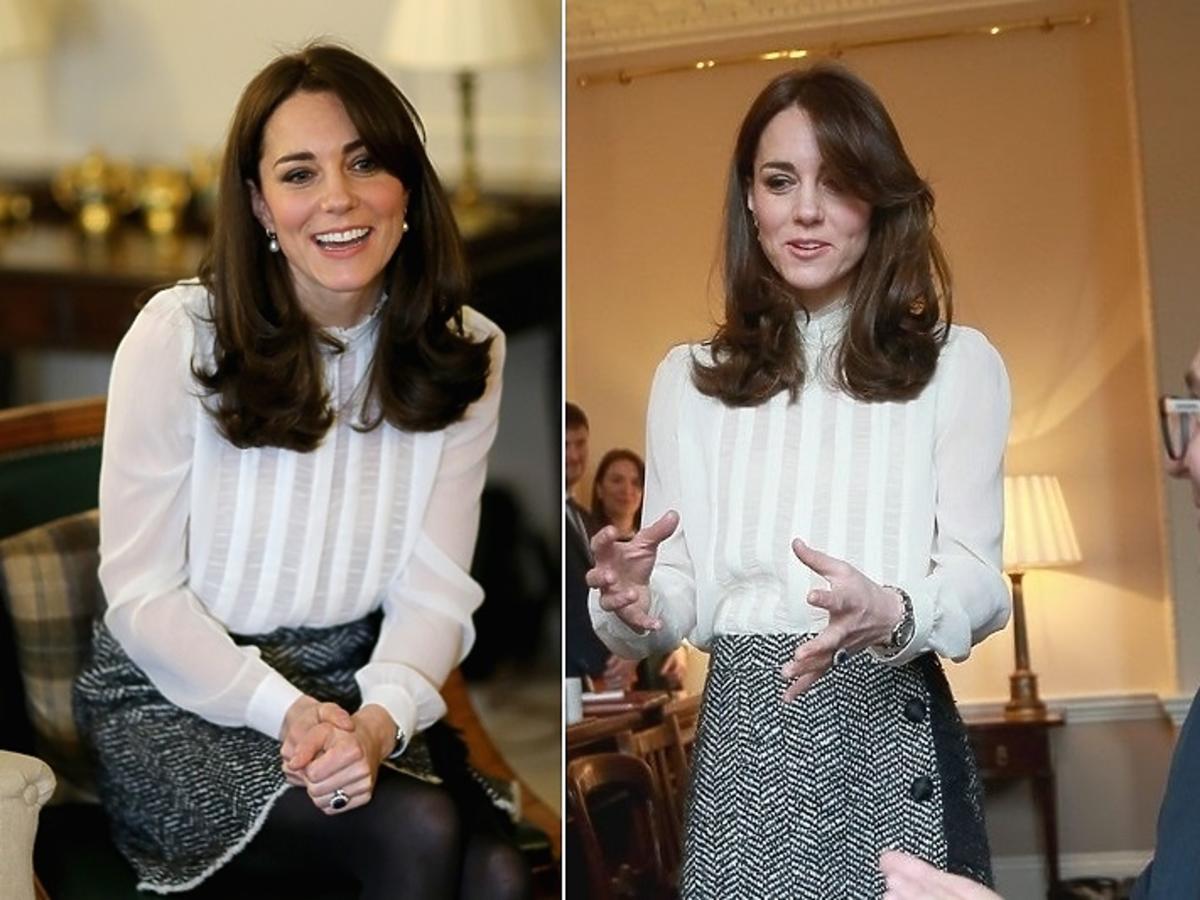 księżna Kate w białej bluzce