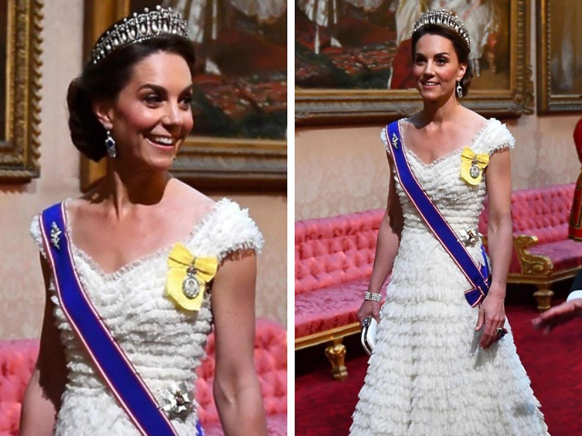 Księżna Kate w białej sukni