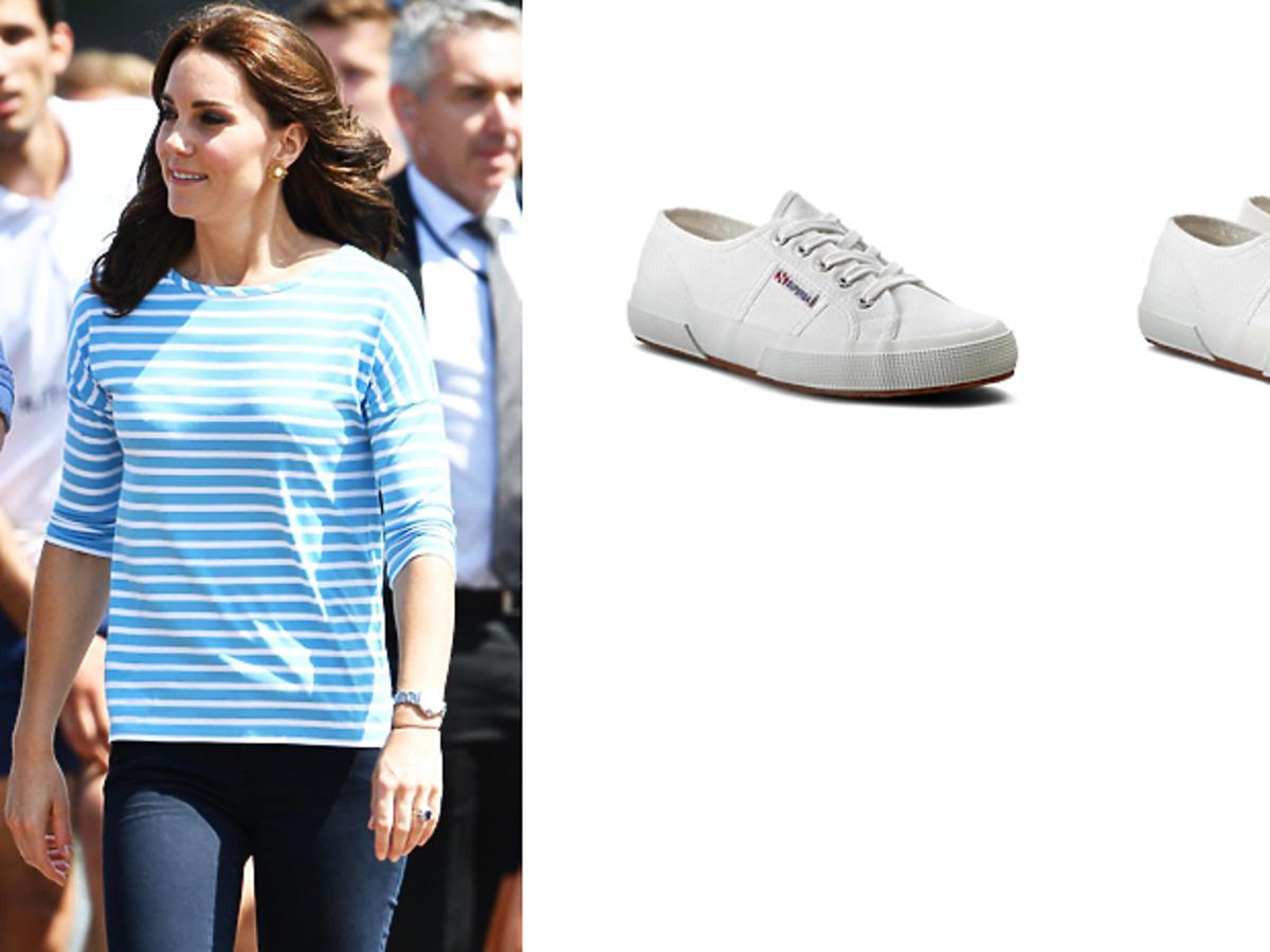 Księżna Kate w białych trampkach Superga