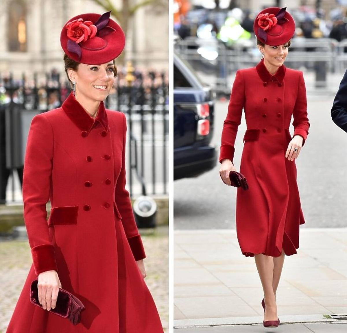 Księżna Kate w czerwonej stylizacji na dniu Wspólnoty Narodów