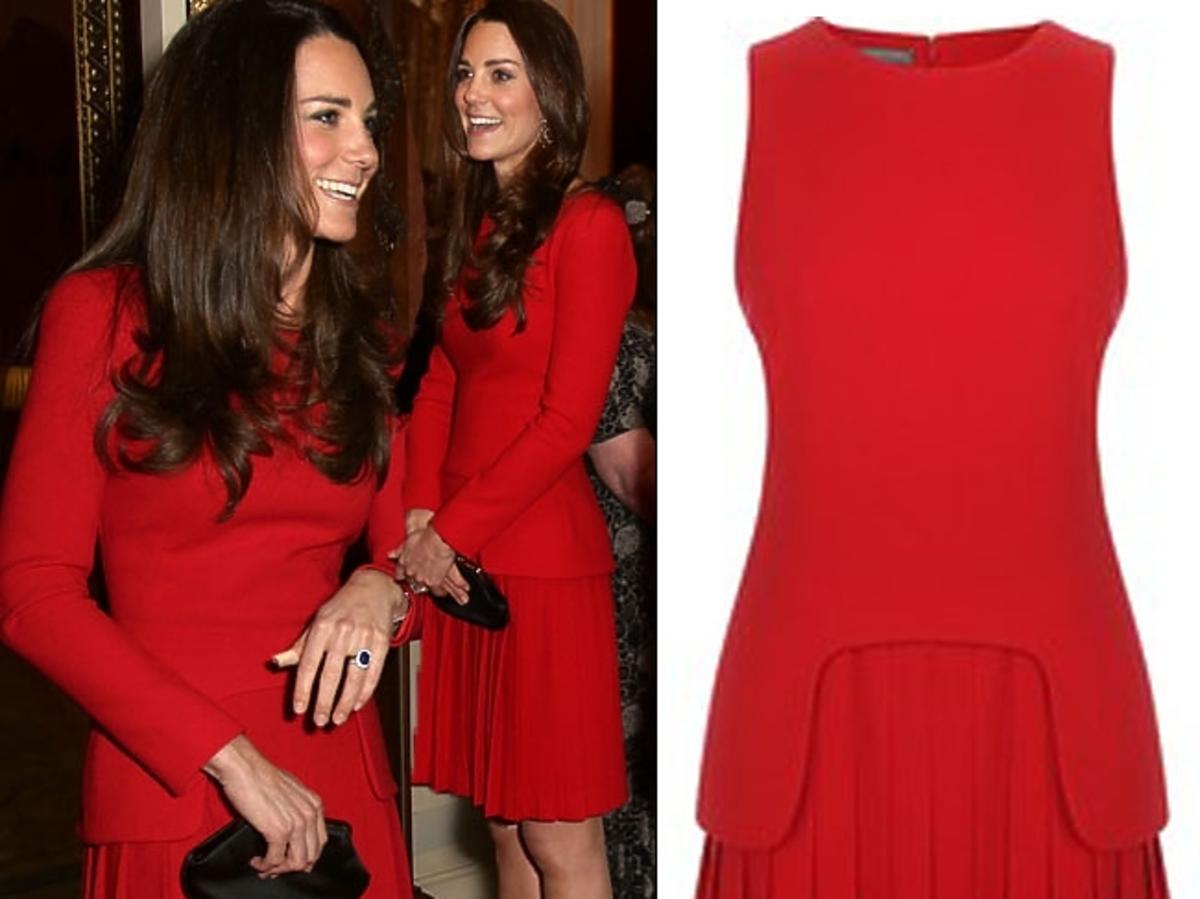 Księżna Kate w czerwonej sukience Alexandra McQueena