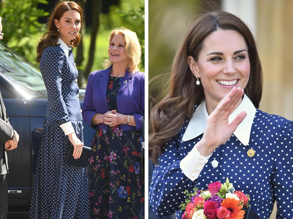 Księżna Kate w długiej sukience w grochy
