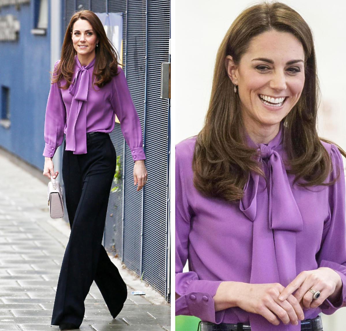 Księżna Kate w fioletowej koszuli