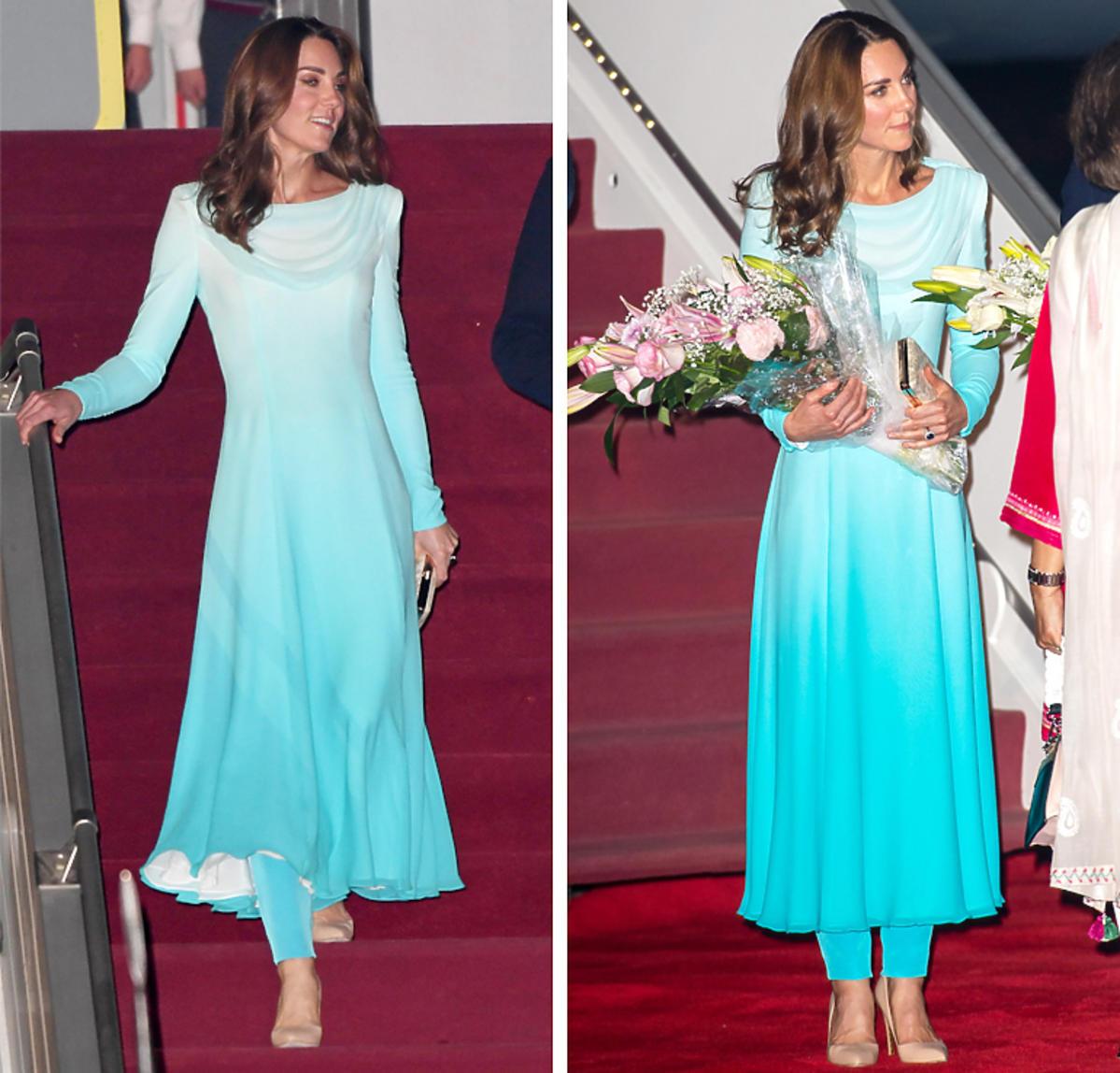 Księżna Kate w niebieskiej sukni  w Pakistanie